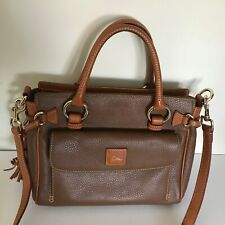 Dooney Bourke Medium Pocket Satchel Pebble Brown British Tan Trim Handbag