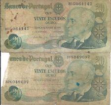 LOT 2X Portugal Portuguese 20 Escudos Banknote