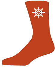 High Quality Orange Socks With a Ships Wheel, Lovely Birthday Gift