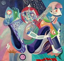 "Australian Oil painting on canvas ""Musitians"" by Yuri Stepanuk. 113 x 115 cm."
