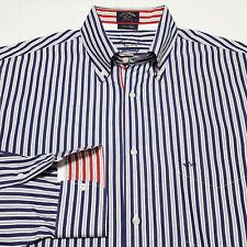PAUL & SHARK Italy Sz 42 Stripe Dress Shirt Blue White Red Cotton 16 - 35/36