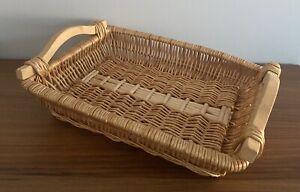Country Farmhouse Rattan Wicker Basket Tray Bread with Wooden Handles Boho Tiki