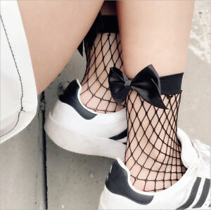 US! Women's Ladies Fishnet Bow Socks Mesh Lace Short High Stockings Ankle Ruffle