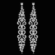 4 Inches Long Clear Austrian Rhinestone Chandelier Dangle Earrings Prom Wed E25