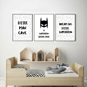 Boys/Nursery Bedroom Print - Superheroes Wall Decor (A4)