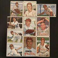 Lot Of 10 - 1950 1951 1952 Bowman - Philadelphia Phillies