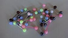 SET 12 x ZUNGEN CHECKER KARO Acryl Flexi Stab Ball 6 mm MULTICOLOR