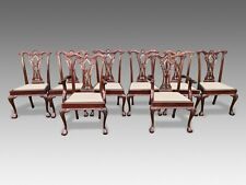 Exquisite set of 8 Chippendale style dining chairs, Pro French polished