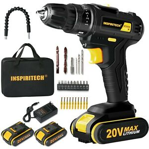 20Volt drill 2 Speed Electric Cordless Drill/Driver with Bits Set & 2 Batteries