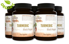 450 Black Pepper and Turmeric Capsules: Healthy Organic Curcumin Piperine 500 mg