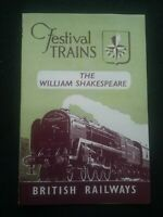 BRITISH RAILWAYS LEAFLET THE WILLIAM SHAKESPEARE  , FESTIVAL TRAINS