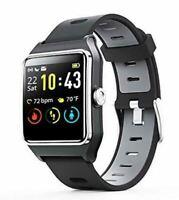 ENACFIRE Smart Watch, W2 GPS Fitness Tracker IP68 Waterproof Black+gray