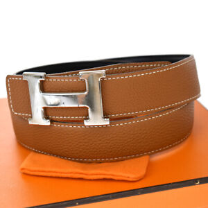 Authentic HERMES Constance Reversible H Buckle Belt Leather # 85 Brown 83BS999