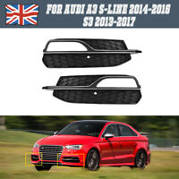 For Audi A3 S-Line 14-16 S3 13-17 Front Bumper Fog Light Grill Panel Left&Right