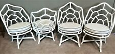 (4) McGuire Chippendale Style Coastal MCM Bamboo Rattan Web Barrel Swivel Chairs