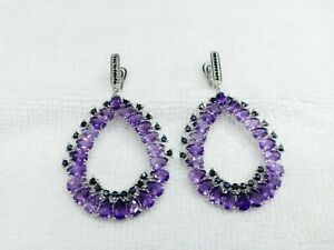 Natural Pear Amethyst 6*4mm & BS 14K White Gold Plate 925Sterling Silver Earring