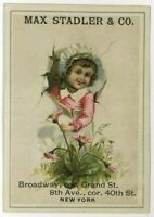 Max Stadler & Co 8th Ave Cor 40th Street NY New York Girl Flowers Trade Card