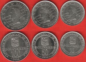 Venezuela set of 3 coins: 10 - 100 bolivares 2016 UNC