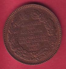 R* FRANCE BRONZE MEDAL EXPOSITION UNIVERSELLE PARIS 1878 by BARRE aUNC DETAILS