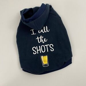 Top Paw I Call The Shots Dog Hoodie Sweater Sweatshirt Blue Pullover New