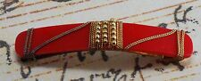 Vintage Hair Barrette Gold Tone Metal Bead Wire Wrap Red Plastic Accessory