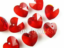 10pcs Red Heart Crystal Earring&Bracelet&Necklace Finding Pendant Beads 14mm