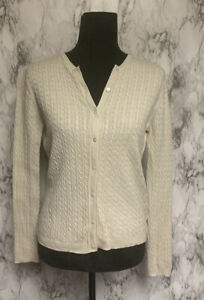 Brooks Brothers Size M Silk & Cashmere Ivory Cable Knit Cardigan Sweater