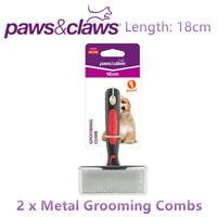 2 x Pet Metal Grooming Comb 18CM Brush Undercoat Rake Dog Cat Fur Hair Shedding