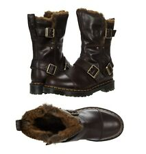 NEW Dr. Martens Women's Kristy Mid Calf Faux Fur Chocolate Luxor Leather Boots