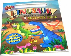 A4 Carry Colouring Kids Dinosaur Pad Drawing Books Art Sheets