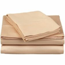 1000 TC Egyptian Cotton 8,10,12,15 Inch Deep Pkt Beige Solid Bedding Items