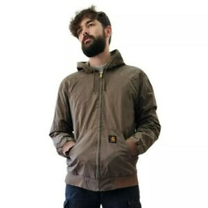 Carhartt Active Jacket Large Brown Hood Workwear WIP USA Logo