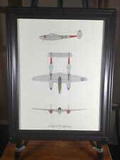 "Lockheed P 38 Lightning World War II Fighter Plane Print Framed 12"" X 15"" Frame"