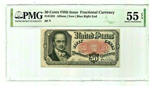 1876 50 Cents Bill Fr 1381 Fifth Issue Fractional Currency PMG AU 55