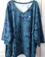 "Catherines 32"" Tunic Navy with Dark Teal Lace Design 95%/5% V-Neck 3/4 Sleeves"