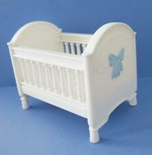 Fisher-Price Loving Family Dollhouse Baby Boy White Blue Bow Crib Bassinet Bed