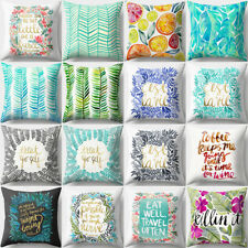 Leaves & Letter Print Square Throw Pillow Case Cushion Cover Home Decor Novelty