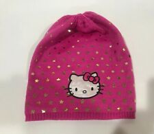 HELLO KITTY PINK KNIT BEANIE HAT GIRL'S SIZE 4-16 PINK WITH GOLD STARS BRAND NEW