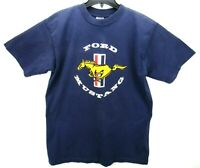 Vintage Ford Mustang Men's Size Large T Shirt Blue Spell Out Rare Single Stitch