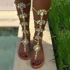 uK 2.5- 9 Ladies Womens Roman Rhinestone Gladiator Sandal Flat Summer Shoes