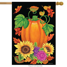 "Bountiful Harvest Fall House Flag Pumpkin Autumn Floral 28"" x 40"" Briarwood Lane"