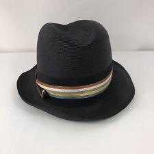 Vintage Woven Florentine Hat Black with Ribbon - 7 1/8