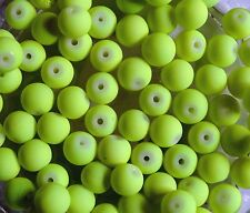 CLEARANCE 110 Neon Yellow Rubberised Glass Round Beads 8mm