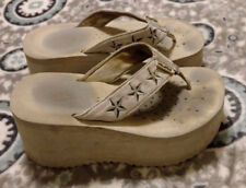 Volatile Sexy Platform Wedge Flip Flops Thong 7 Tan Beige Worn Loved Sandal Star