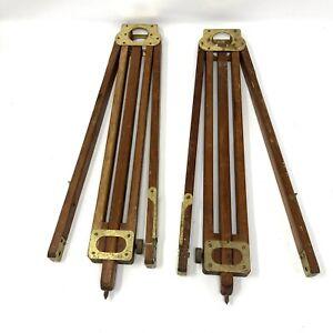 Vintage Antique Wood And Brass Tripod Legs Surveyor Equipment Set Of 2