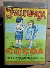 VINTAGE FAIRWAY BRAND LARGE 1/2 POUND COCOA TIN SPICE TIN WITH CHILDREN