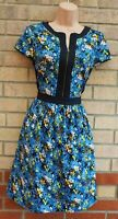 THERAPY BLUE BLACK FLORAL DISTY ZIP FRONT SHORT SLEEVE A LINE SKATER DRESS 10 S