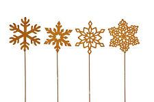 Schneeflocke Stecker Stab Deko Metall Garten Gesteck Beet ROST Weihnachten 4x