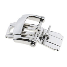 Stainless Steel Butterfly Deployment Clasp Watch Buckle For Leather Strap