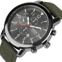 Casual Men's Luminous Date Analog Sport Quartz Wrist Watches Nylon Band Strap